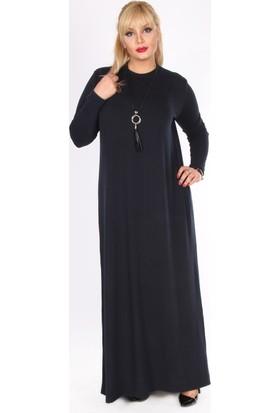 Rmg Büyük Beden Uzun Elbise Lacivert
