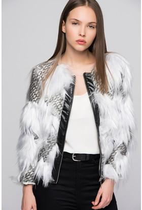 Moda Shop Kadın Ekru Derili Kürk Ceket