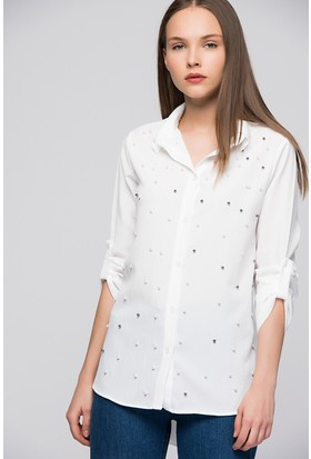 Moda Shop Kadın İnci Detaylı Gömlek