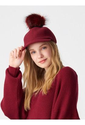 Modamarka Shop Kadın Yün Keçe Şapka Kışlık Ponponlu Kep Bordo
