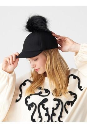 Modamarka Shop Kadın Yün Keçe Şapka Kışlık Ponponlu Kep Siyah