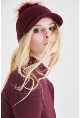 Modamarka Shop Kadın Ponponlu Yün Şapka Bordo