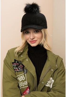 Modamarka Shop Kadın Ponponlu Yün Şapka Siyah