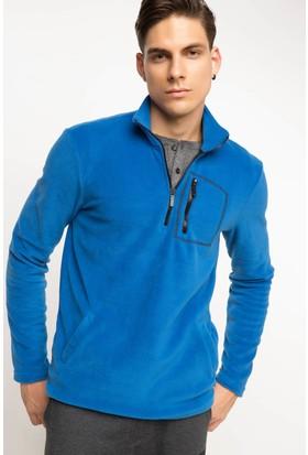DeFacto Erkek Balıkçı Yaka Sweatshirt Mavi