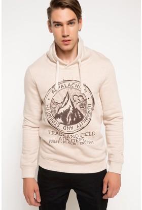 DeFacto Erkek Baskılı Sweatshirt Bej