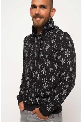 DeFacto Erkek Baskılı Sweatshirt Siyah