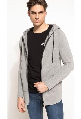 DeFacto Erkek Kapşonlu Uzun Sweatshirt Gri