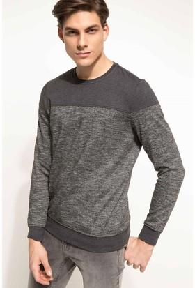 DeFacto Erkek Sweatshirt Antrasit