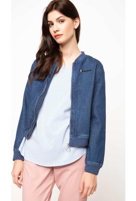 DeFacto Kadın Arkası Baskılı Kot Ceket Mavi