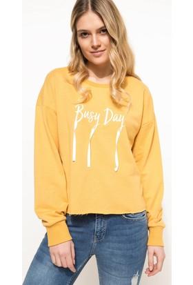 DeFacto Kadın Baskılı Sweatshirt Sarı