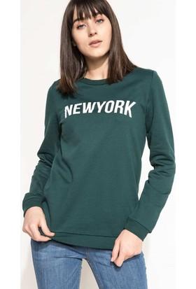 DeFacto Kadın Baskılı Sweatshirt Yeşil