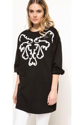 DeFacto Kadın Şerit Aplike Detaylı Tunik Siyah