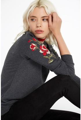 FullaModa 18KALAT0012 Kadın Nakışlı Sweatshirt