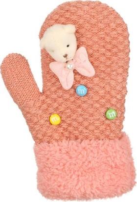 Kitti Kız Çocuk Kışlık Eldiven Örme 1-4 Yaş Kalın Örgü Pudra K7300-2