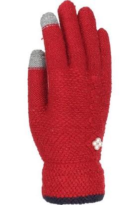 Kitti Kız Çocuk Kışlık Eldiven Örme 9-15 Yaş Kalın Örgü Kırmızı K7330-2