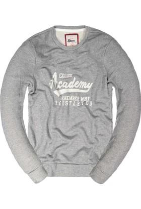 Phazz Brand Baskılı Sweatshirt 5206 Gri Melanj