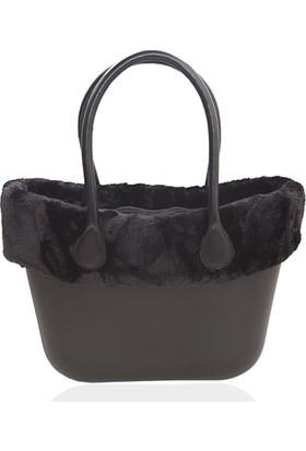 Picco Kullanışlı Kadın El Ve Kol Çantası Siyah Polarlı