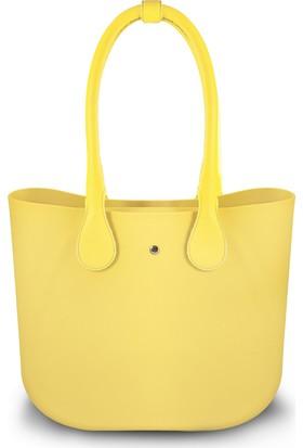 Picco Kullanışlı Kadın El Ve Kol Çantası Sarı Deri Saplı