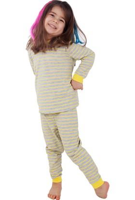 Bhr Kids Çocuk Pijama Takımı Sarı Çizgili 1 - 4 Yaş