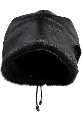 Pegia Deri Çiçek Detaylı Kadın Şapka 18As17