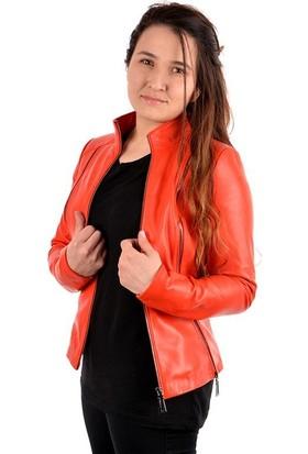 Pegia Deri Fermuar Detaylı Kadın Ceket 17Cb24