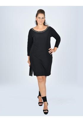 Nidya Moda Büyük Beden Kayık Yaka Siyah Abiye Elbise