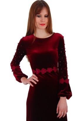 Adressim Bel Ve Kollar Dantelli Kadife Uzun Elbise