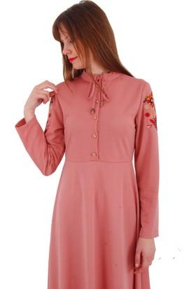 Adressim Kolları İşlemeli Yaka Bağcıklı Uzun Elbise