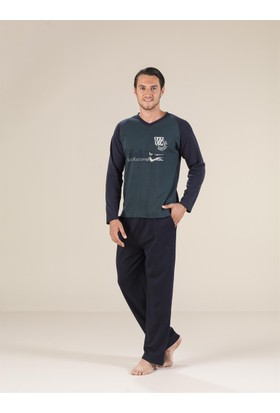 Estiva 17411 İnterlok V Yaka Erkek Pijama Takım