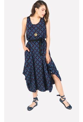 Clandestino Desenli Uzun Elbise