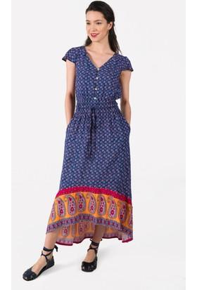 Clandestino V Yakalı Uzun Elbise