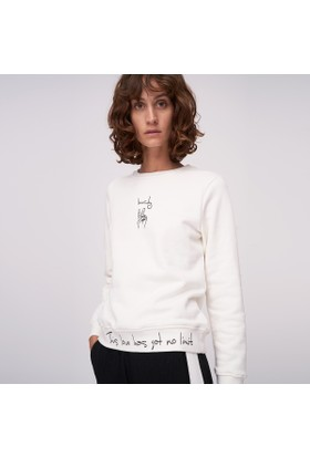 Ribellion Etek Ucu Ve Önü Baskılı Basic Sweatshirt