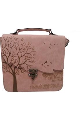 Çanta Stilim Pudra Renk Nubuk Deri 2422-P El Ve Çapraz Kadın Çantası