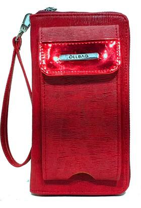 Ollbag 1034 Kırmızı Deri Telefonluklu Kadın Cüzdanı