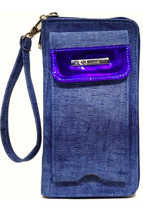 Ollbag 1034 Mavi Deri Telefonluklu Kadın Cüzdanı