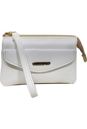 Ollbag 1095 Rolax Beyaz Deri Kadın Makyaj Çantası