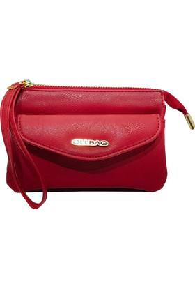 Ollbag 1095 Rolax Kırmızı Deri Kadın Makyaj Çantası