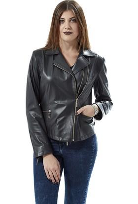 Deriza Lisa Lacivert Deri Ceket