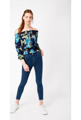 Eka Paçası Fermuarlı Yüksek Bel Likralı Jean