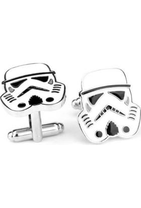 Angemiel Men Star Wars Beyaz Stormtrooper Erkek Bayan Kol Düğmesi