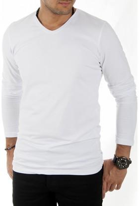 Deepsea Beyaz V Yaka Dar Kesim Uzun Kollu Erkek Sweatshirt 1808001