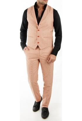 Deepsea Turuncu Kare Desenli Yakalı Erkek Pantolon Yelek Takım 1790010