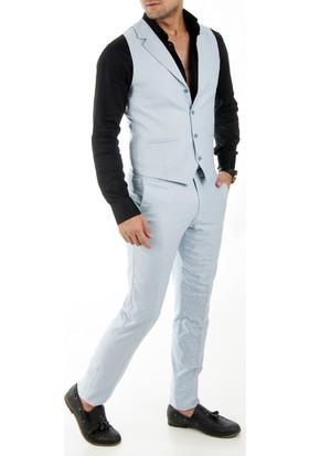 Deepsea Mavi Kare Desenli Yakalı Erkek Pantolon Yelek Takım 1790010
