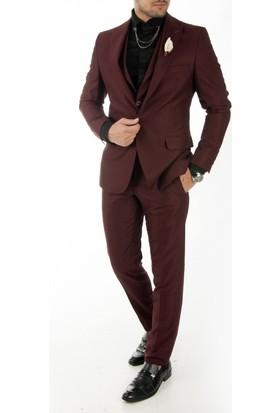 Deepsea Bordo İtalyan Kesim Örme Kumaş Yelekli Erkek Takım Elbise 1710462