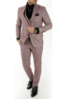 Deepsea Bordo Örme Kumaş Kare-Kırçıllı Desenli Erkek Takım Elbise 1710449