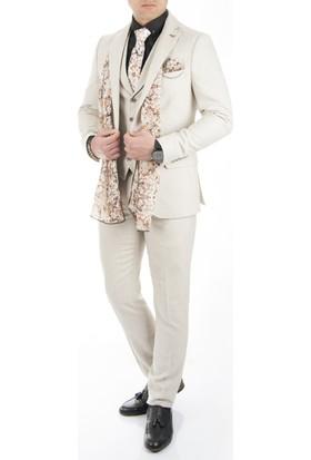 Deepsea Bej Yeni Sezon Likralı Cepkenli İtalyan Kesim Erkek Takım Elbise 1710310-021