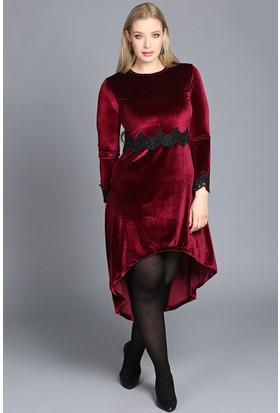 Trend Plus Güpürlü Kadife Elbise