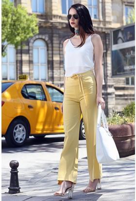 Womenice Beli Kuşaklı Bol Paça Pantolon