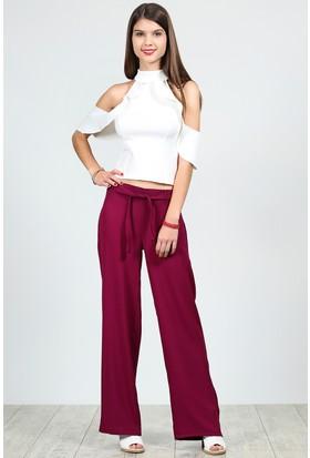 Womenice Beli Kuşaklı Bol Paça Krinkıl Pantolon