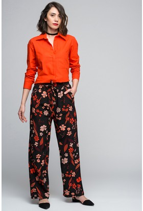 Womenice Çiçek Basklı Boru Paça Pantolon